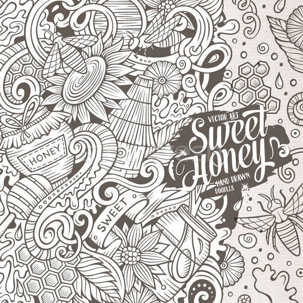 Desenho animado mel quadro projeto bonitinho Foto stock © balabolka