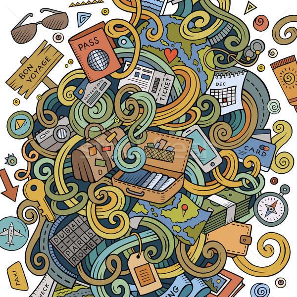 Cartoon cute doodles traveling illustration Stock photo © balabolka