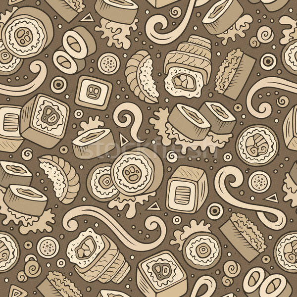 Stock photo: Cartoon cute hand drawn Japan food seamless pattern