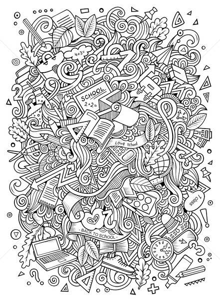 Cartoon doodles hand drawn School illustration Stock photo © balabolka