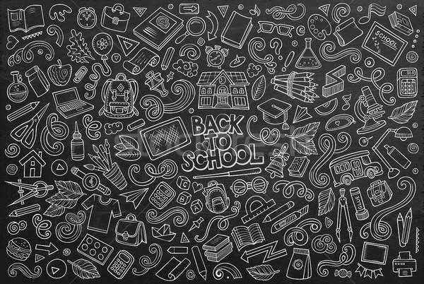 Vettore doodle cartoon set scuola oggetti Foto d'archivio © balabolka