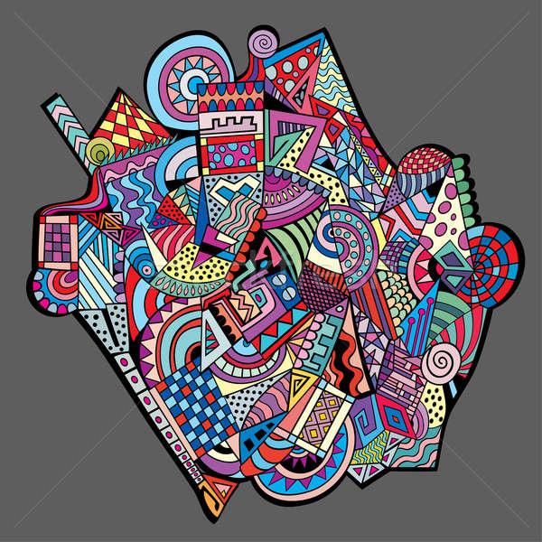Abstract decoratief vector meetkundig kleurrijk ontwerp Stockfoto © balabolka