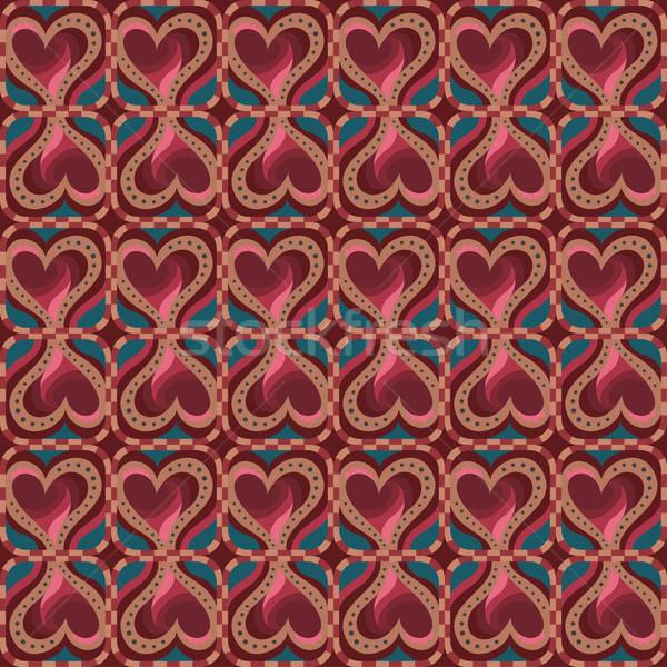 Stock fotó: Dekoratív · kisebbségi · szeretet · szív · minta · vektor