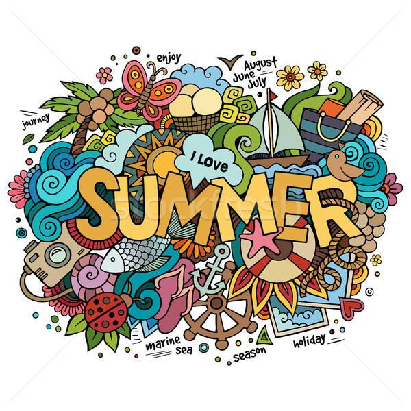 Summer hand lettering and doodles elements. Vector illustration Stock photo © balabolka