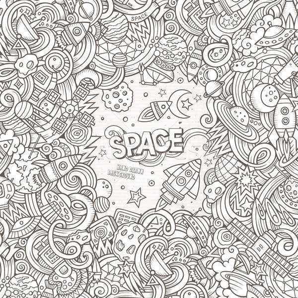 Cartoon cute dessinés à la main espace illustration Photo stock © balabolka