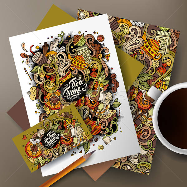 Foto stock: Desenho · animado · café · chá · identidade · conjunto