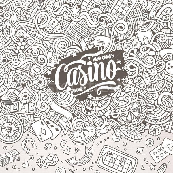 Desenho animado cassino jogos de azar ilustração linha Foto stock © balabolka
