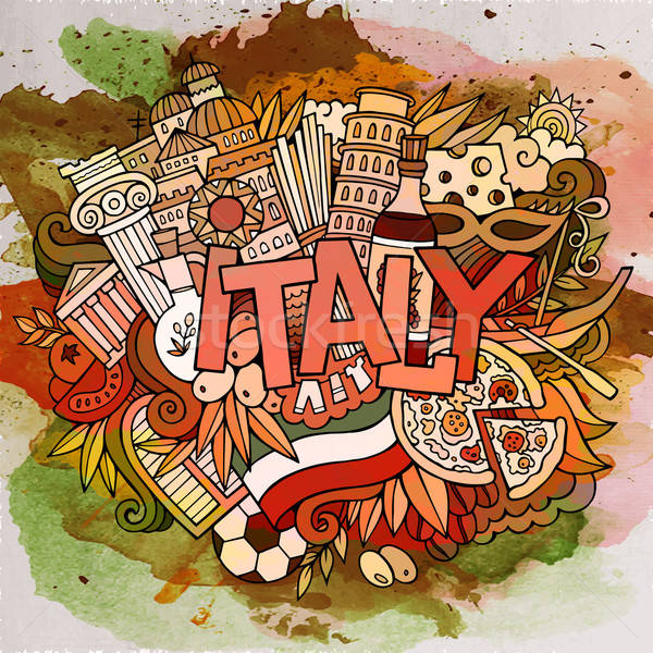 Cartoon vector hand drawn doodle Italy illustration. Stock photo © balabolka