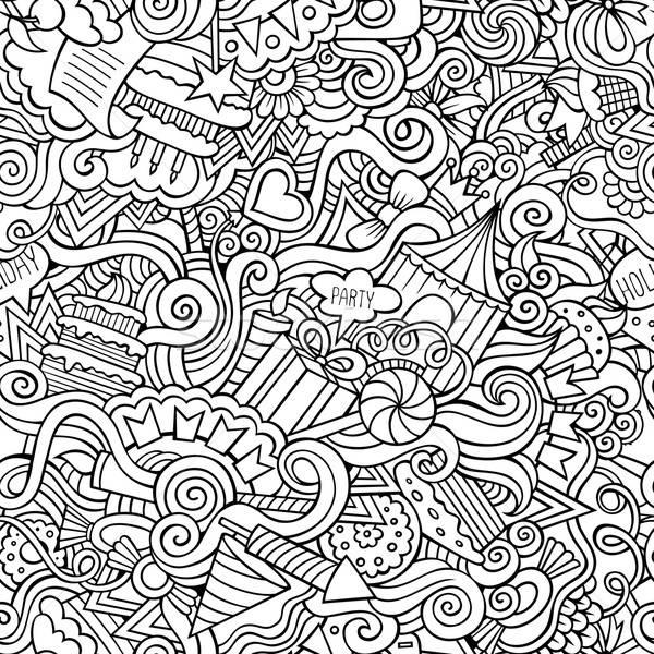 Cartoon doodles hand drawn holidays seamless pattern Stock photo © balabolka