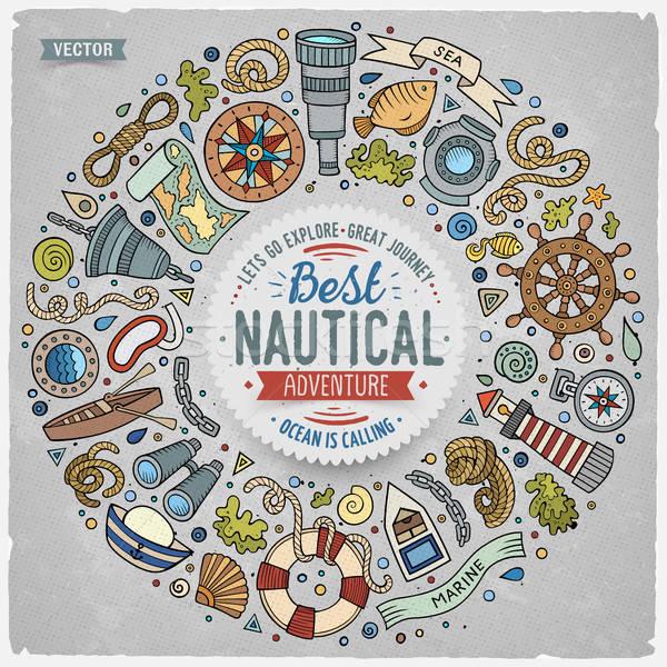 Zestaw morski cartoon gryzmolić obiektów symbolika Zdjęcia stock © balabolka