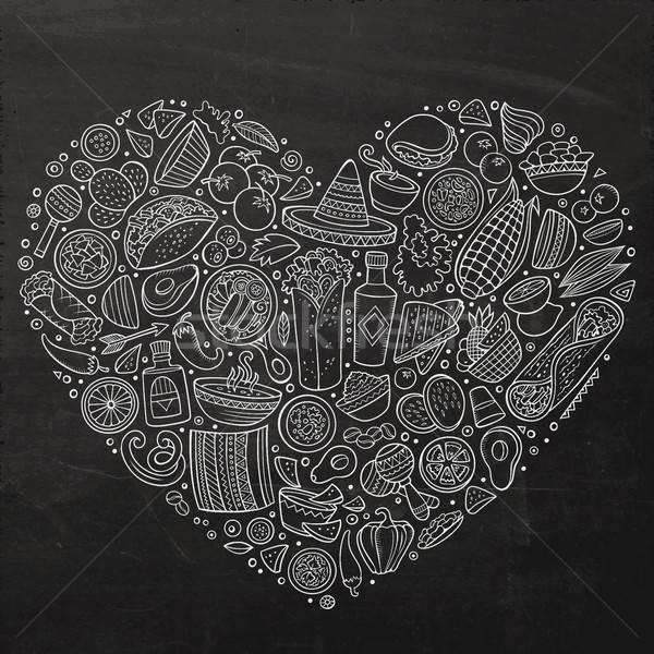 Szett mexikói étel rajz firka tárgyak tábla Stock fotó © balabolka