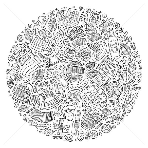 Vector set of Beer cartoon doodle objects, symbols and items. Stock photo © balabolka