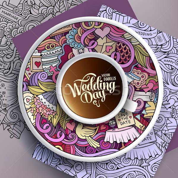 Fincan kahve düğün karalamalar fincan tabağı kâğıt Stok fotoğraf © balabolka
