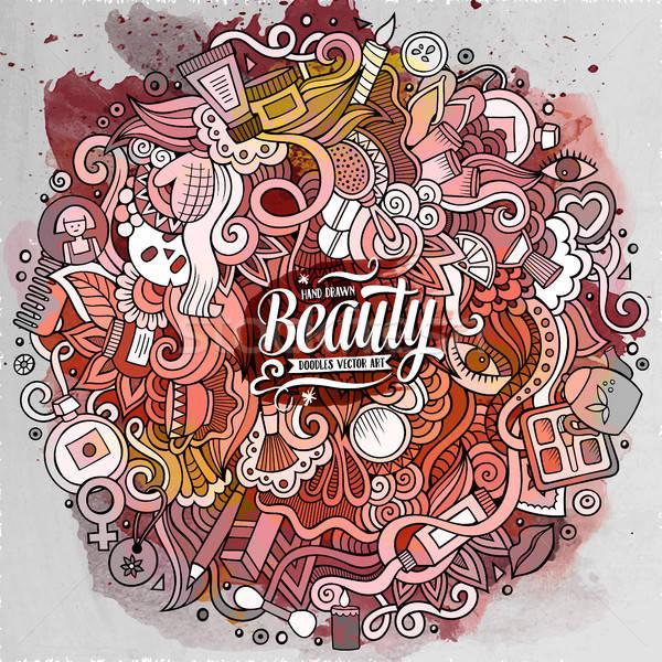 Cartoon doodles cosmetics frame design Stock photo © balabolka