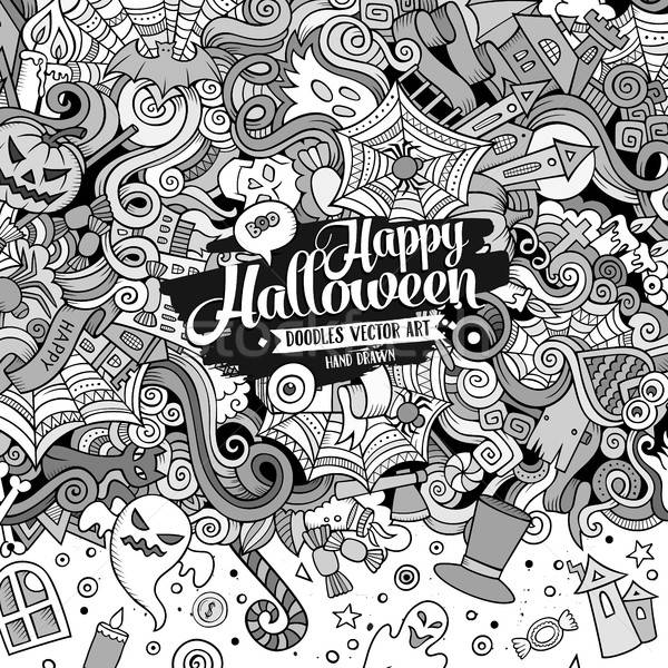 Cartoon cute doodles hand drawn Happy Halloween frame design Stock photo © balabolka