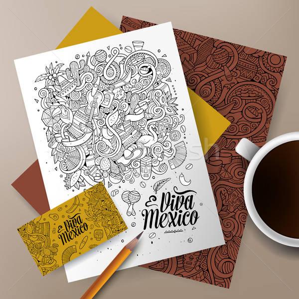Karikatür karalamalar latin amerika kurumsal kimlik ayarlamak Stok fotoğraf © balabolka