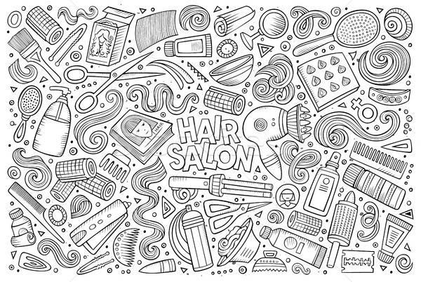 Vettore cartoon set parrucchiere oggetti Foto d'archivio © balabolka