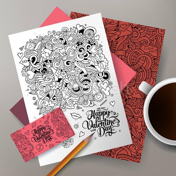 Cartoon cute colorful vector hand drawn doodles Love corporate identity set Stock photo © balabolka