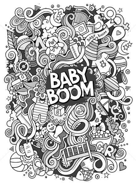 Cartoon cute doodles hand drawn Baby illustration Stock photo © balabolka