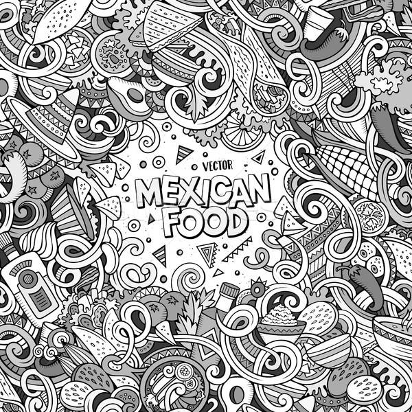 Cartoon mexican food doodles illustration Stock photo © balabolka