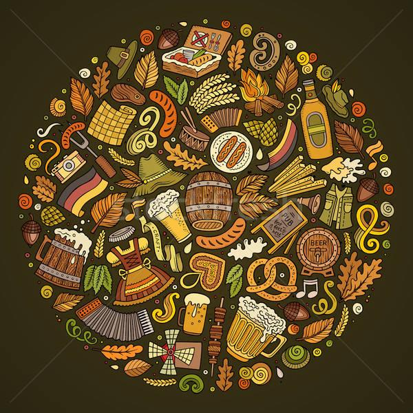 Vector ingesteld bier cartoon doodle objecten Stockfoto © balabolka