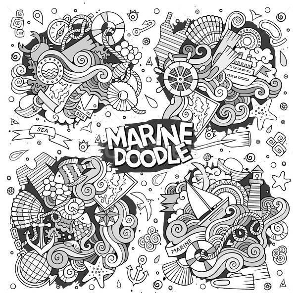 морской морской вектора дизайна рисованной Сток-фото © balabolka