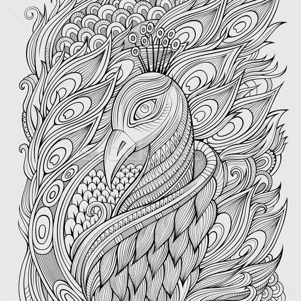 Stok fotoğraf: Dekoratif · tavuskuşu · soyut · arka · plan · yaz