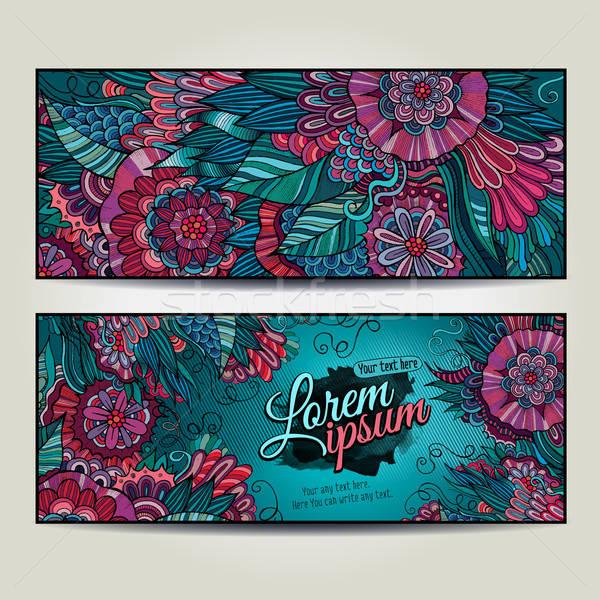 Streszczenie wektora dekoracyjny kwiatowy środowisk szablon Zdjęcia stock © balabolka