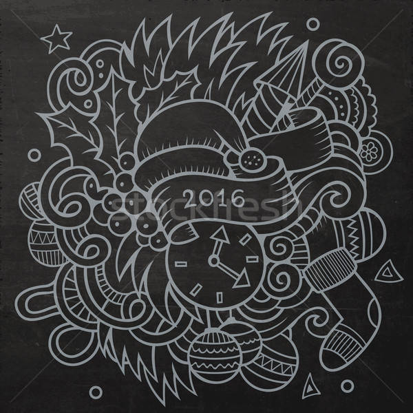 2016 ano novo elementos vetor quadro-negro Foto stock © balabolka