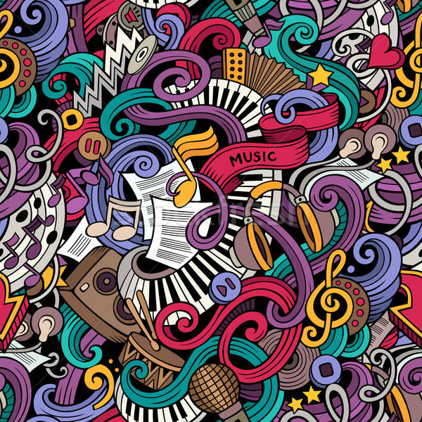 Stock photo: Cartoon hand-drawn doodles music seamless pattern