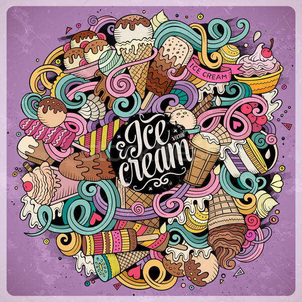 Cartoon hand-drawn doodles Ice Cream illustration Stock photo © balabolka