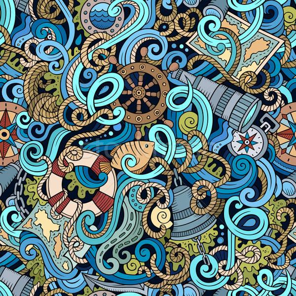 Stok fotoğraf: Karikatür · deniz · karalamalar · ayrıntılı · nesneler