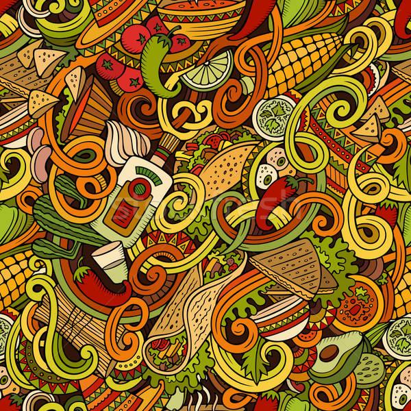 Rajz mexikói étel firkák végtelen minta részletes tárgyak Stock fotó © balabolka