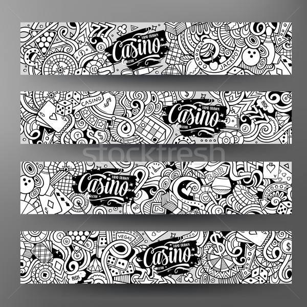 Stock photo: Cartoon line art vector doodles casino banners