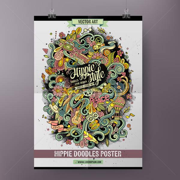 Desenho animado colorido hippie cartaz Foto stock © balabolka