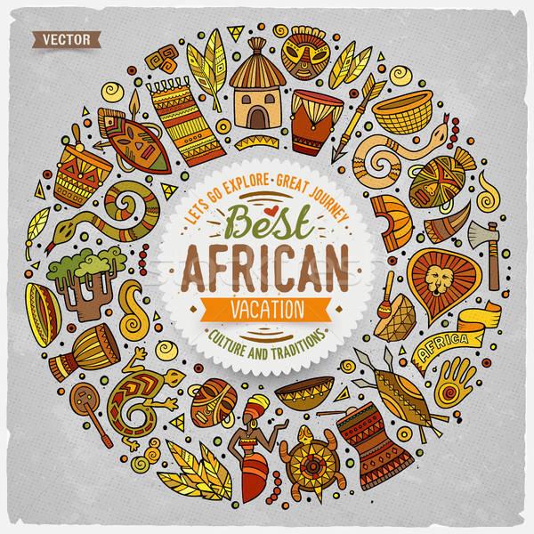 Ingesteld afrika cartoon doodle objecten frame Stockfoto © balabolka