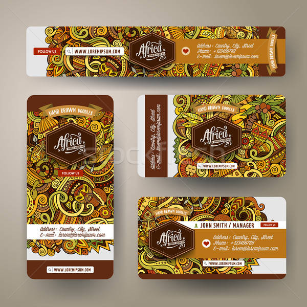Corporate Identity set with doodles hand drawn Africa theme Stock photo © balabolka