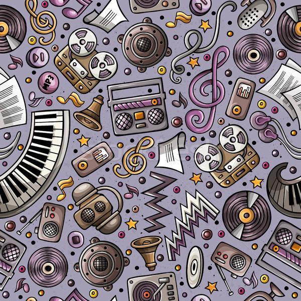 Stock fotó: Rajz · hangszerek · végtelen · minta · zene · szimbólumok · tárgyak