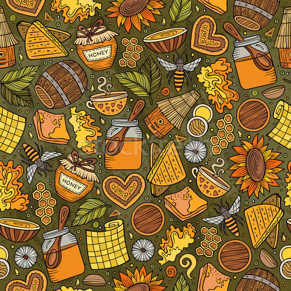 Rajz aranyos méz végtelen minta kézzel rajzolt színes Stock fotó © balabolka