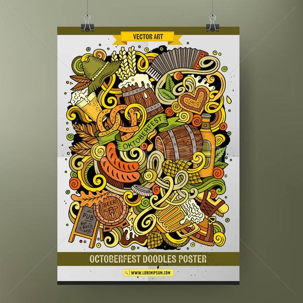 Desenho animado colorido oktoberfest cartaz Foto stock © balabolka
