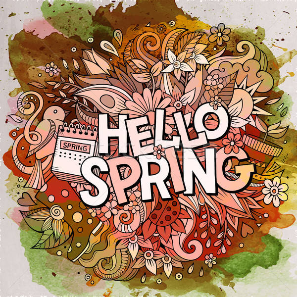 Cartoon cute doodles hand drawn Hello Spring illustration Stock photo © balabolka