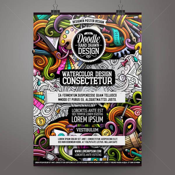 Cartoon hand drawn doodles Design and Art poster design Stock photo © balabolka