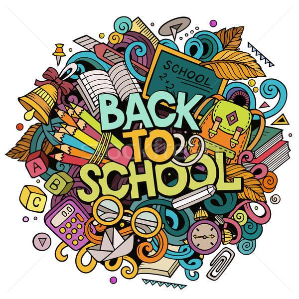 Cartoon cute doodles Back to School phrase. Colorful illustration Stock photo © balabolka