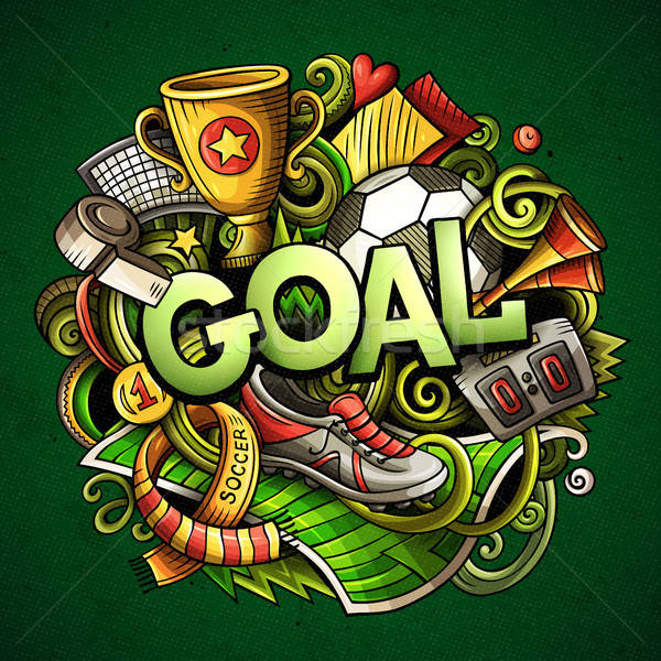 Cartoon cute doodles Goal word  Colorful illustration