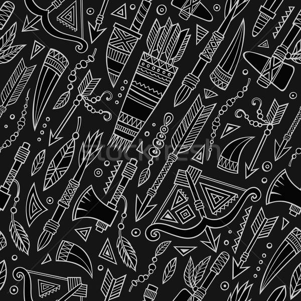 Tribal abstract native chalkboard seamless pattern Stock photo © balabolka