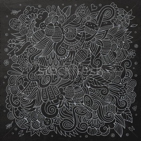 Cartoon chalkboard doodles on the subject of Easter Stock photo © balabolka