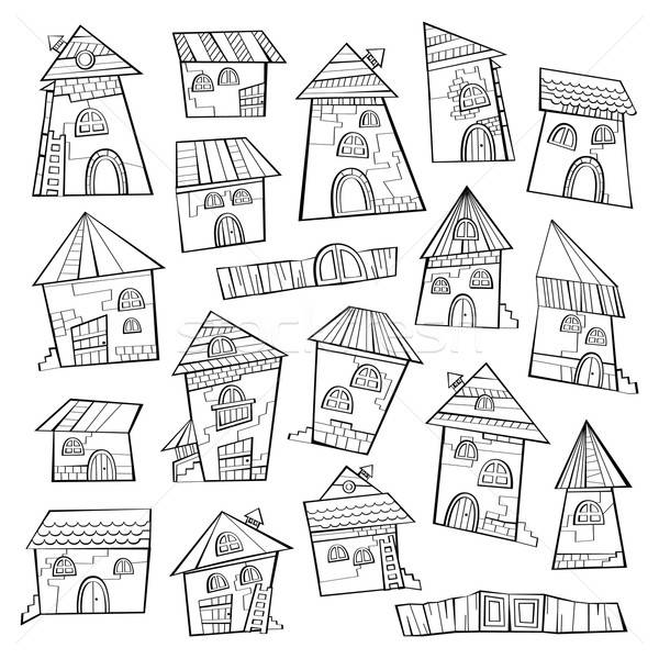 Set of line art cartoon vector houses Stock photo © balabolka