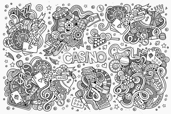 Sketchy vector hand drawn doodles cartoon set of Casino objects  Stock photo © balabolka