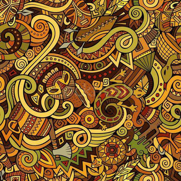Rajz aranyos firkák kézzel rajzolt Afrika végtelen minta Stock fotó © balabolka