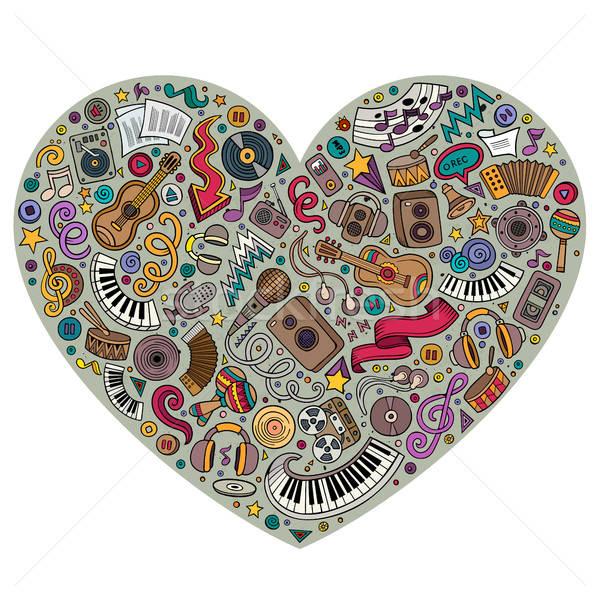Colorful vector set of Music cartoon doodle objects, symbols Stock photo © balabolka